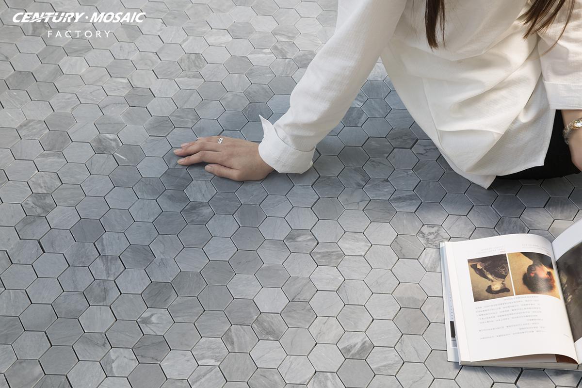 2017-Century-Mosaic-Latin-Grey-Hexagon-2inches