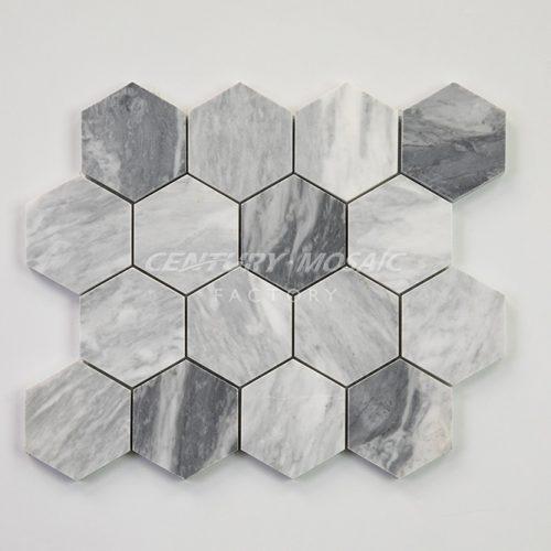 centurymosaic-carrara-gray-3-inch-hexagon-mosaic-tile