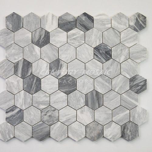 centurymosaic-carrara-gray-2-inch-hexagon-mosaic-tile
