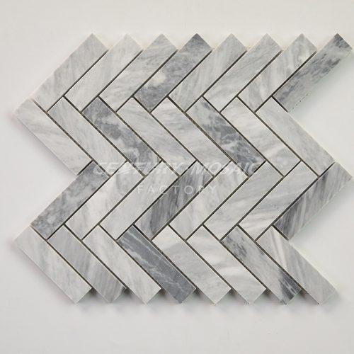 centurymosaic-carrara-gray-1-inch-by-4-inch-Herringbone-mosaic-tile