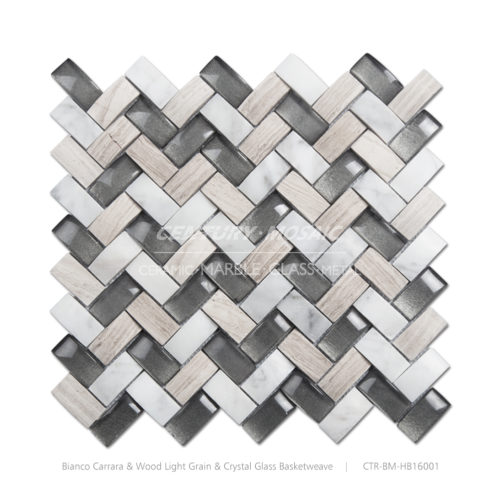 3D Basketweave Marble Mosaic Tile