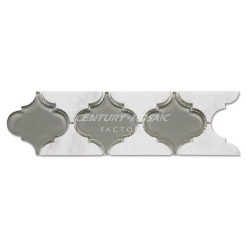 Border-Mosaic-Tile-CTR-BM-AD001-Himalaya-White&Crystal-Glass-1