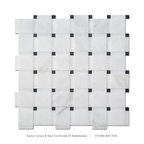 CTR-MM-BW17045 Bianco Carrara-Black Dot Honed-3D Basketweave-1