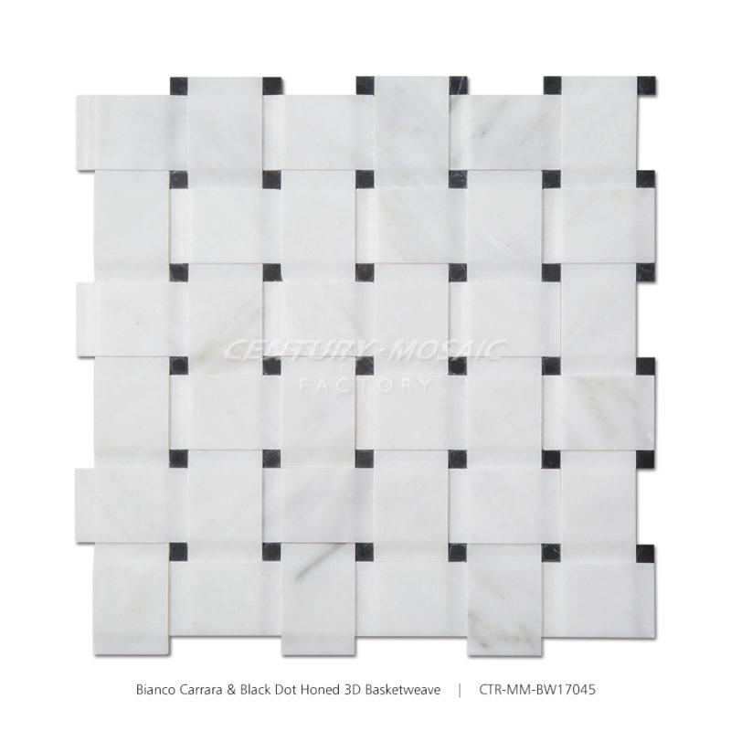 CTR-MM-BW17045 Bianco Carrara-Black Dot Honed-3D Basketweave-1