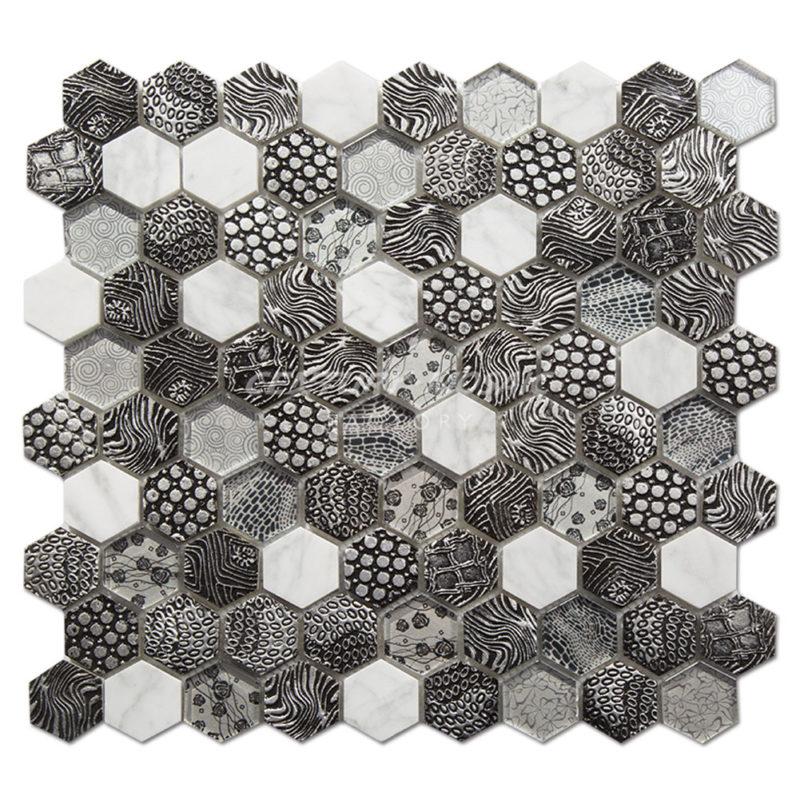 Century-Mosaic-Bianco-Carrara-Crystal-Glass-Resin-Hexagon-1