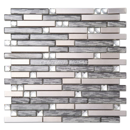 Glass Blends Stainless Steel Strip Mosaics Tile