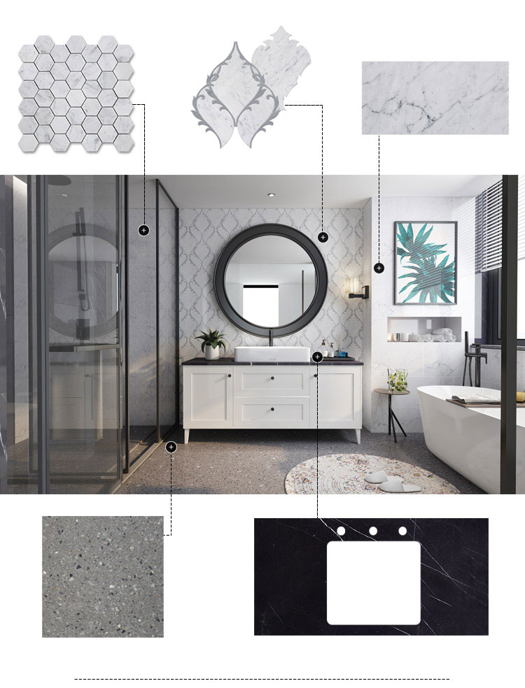 Century Mosaic Marble Mosaic Tile Bathroom Custom Interior Design (1)