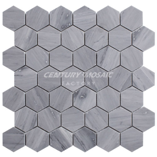 Centurymosaic-2''Latin-Gray-Marble-Hexagon-Mosaic-Tile