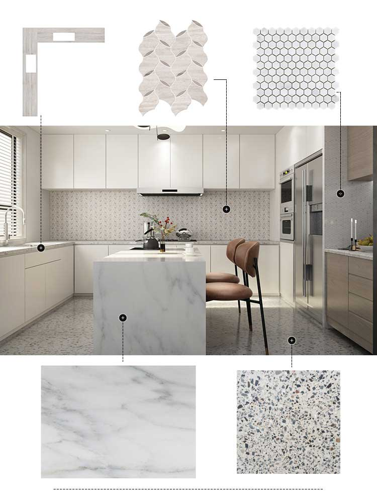 Kitchen Design with Carrara & Terrazzo & Statuary White (3)