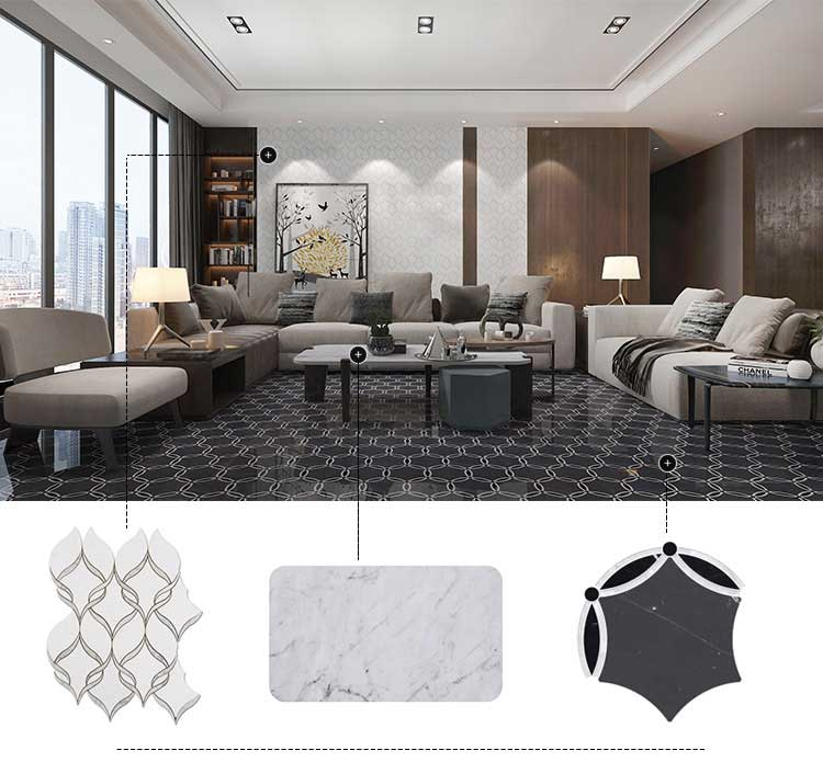 Living Room Design With Marble Tile (5)