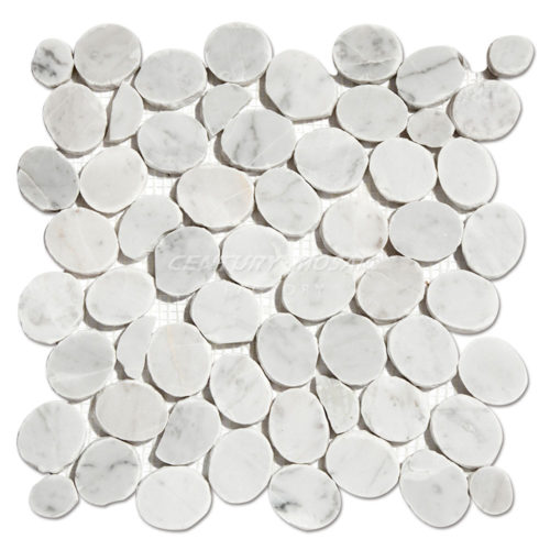 Pebble-Marble Mosaic-Tile-CTR-MM-CS021-Carrara-1