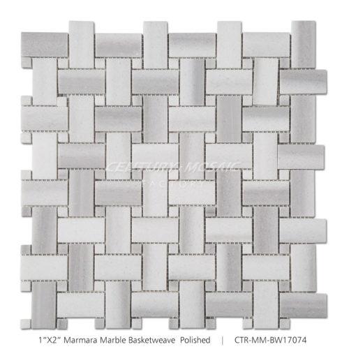 Basketweave Marmara Marble Mosaic Tile