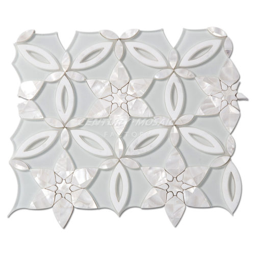 centurymosaic-Spring-Blossoms-Water-Jet-marble-and-glass-and-shell-Mosaic-Tile-1