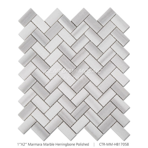 Herringbone Marmara Marble Mosaic