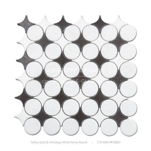 Reversi Penny Round Marble Mosaic Tile