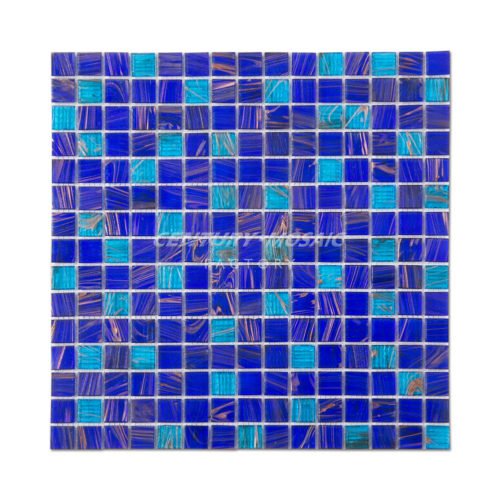 blue glass square mosaic